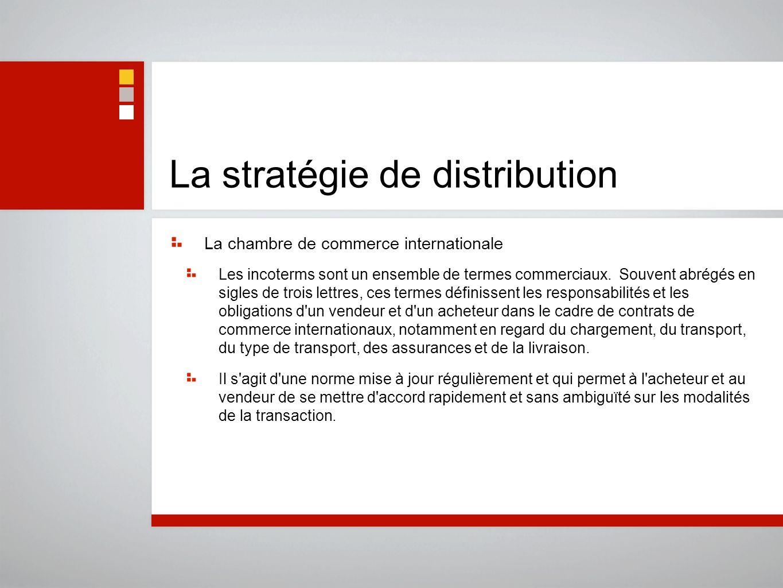 La stratégie de distribution La chambre de commerce internationale Les incoterms sont un ensemble de termes commerciaux. Souvent abrégés en sigles de