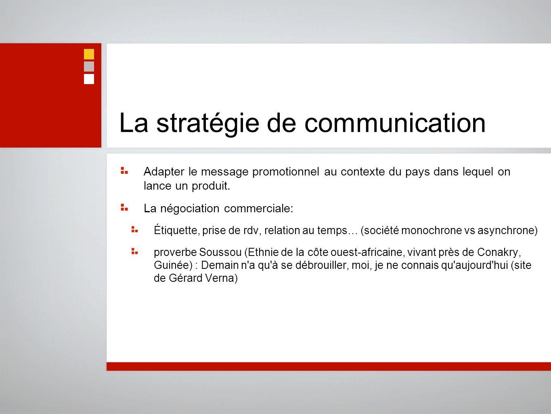 La stratégie de communication Adapter le message promotionnel au contexte du pays dans lequel on lance un produit. La négociation commerciale: Étiquet