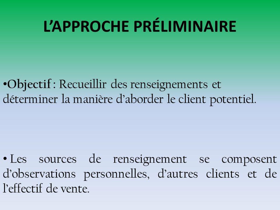 LAPPROCHE Objectif :Capter lattention du client éventuel, susciter son intérêt et jeter les bases dune éventuelle présentation.