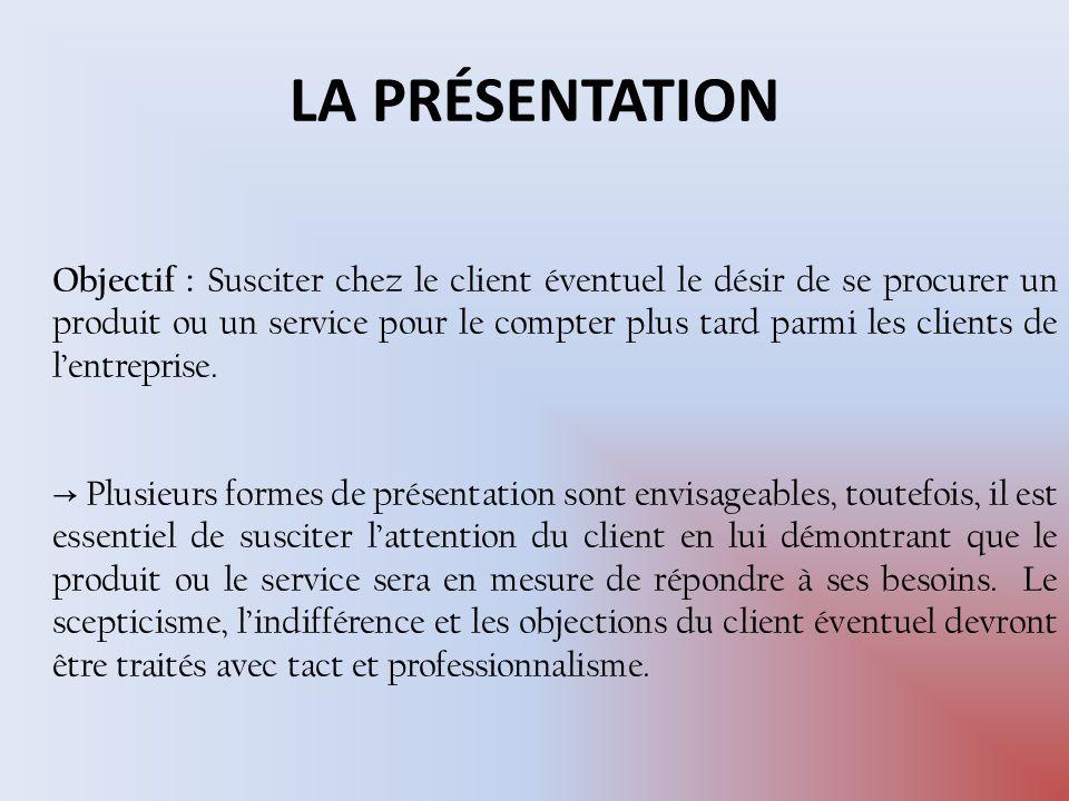 1-Présentation stimulus-répondre 2-Argumentation-type 3-Présentation axée sur la satisfaction des besoin 3 formes de représentation