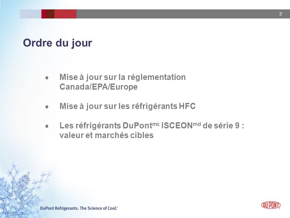 2 Ordre du jour Mise à jour sur la réglementation Canada/EPA/Europe Mise à jour sur les réfrigérants HFC Les réfrigérants DuPont mc ISCEON md de série