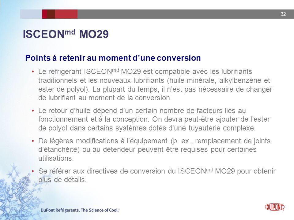 32 Points à retenir au moment dune conversion Le réfrigérant ISCEON md MO29 est compatible avec les lubrifiants traditionnels et les nouveaux lubrifia