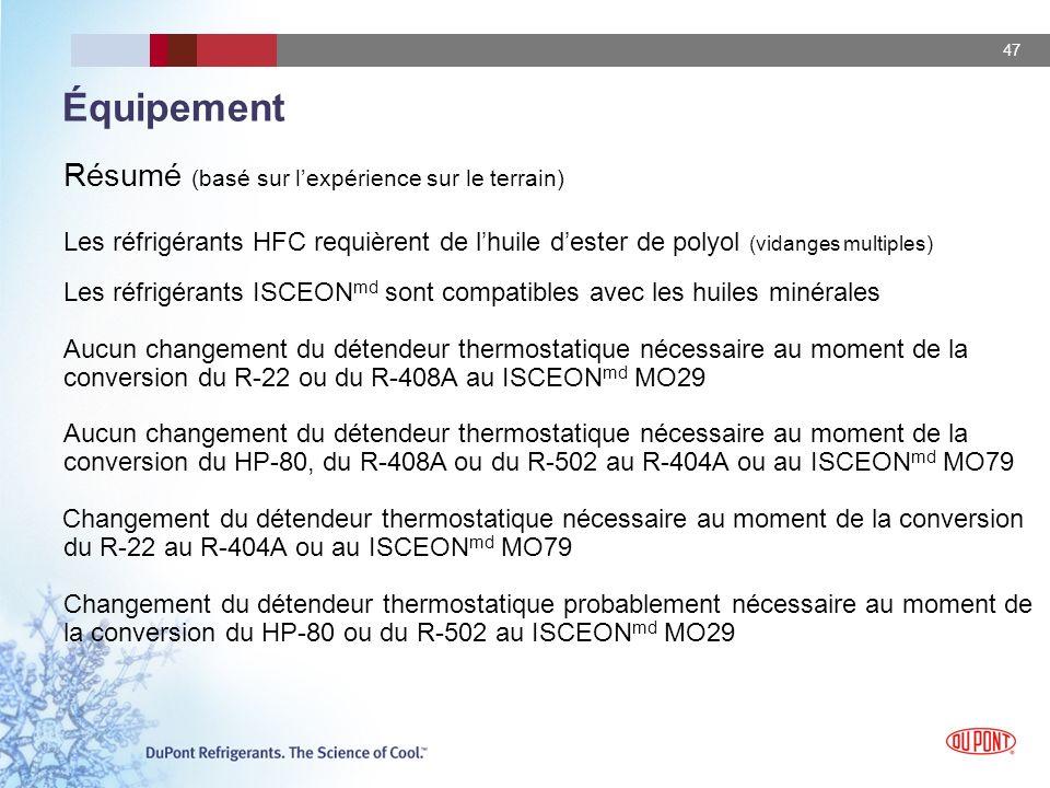 47 Équipement Résumé (basé sur lexpérience sur le terrain) Les réfrigérants HFC requièrent de lhuile dester de polyol (vidanges multiples) Les réfrigé