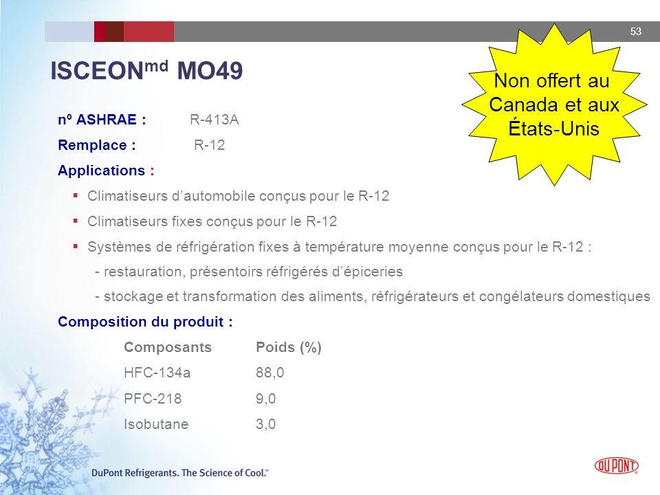 53 ISCEON md MO49 nº ASHRAE : R-413A Remplace : R-12 Applications : Climatiseurs dautomobile conçus pour le R-12 Climatiseurs fixes conçus pour le R-1