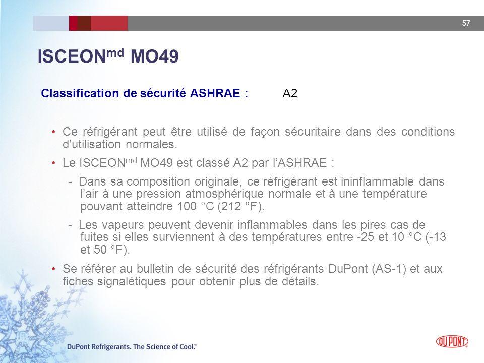 57 ISCEON md MO49 Classification de sécurité ASHRAE : A2 Ce réfrigérant peut être utilisé de façon sécuritaire dans des conditions dutilisation normal