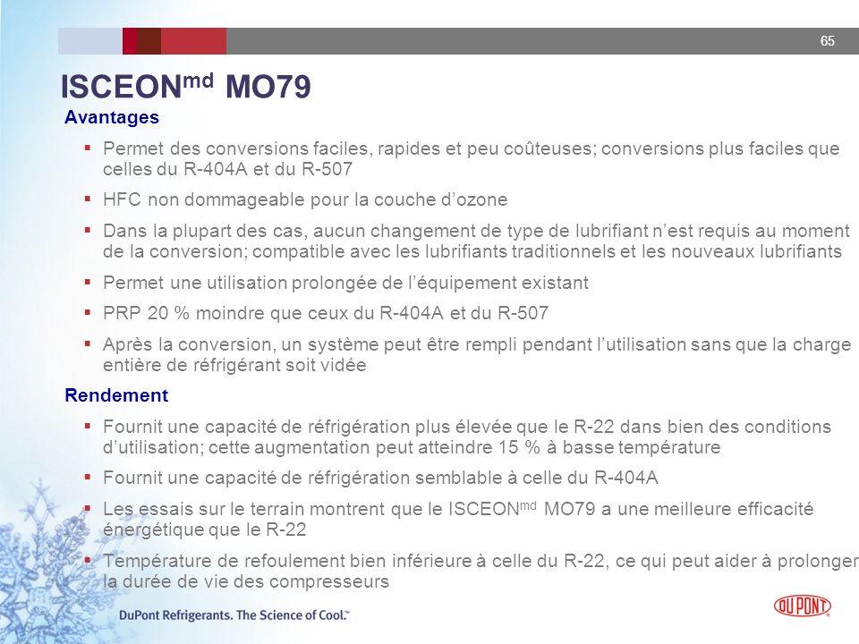65 ISCEON md MO79 Avantages Permet des conversions faciles, rapides et peu coûteuses; conversions plus faciles que celles du R-404A et du R-507 HFC no