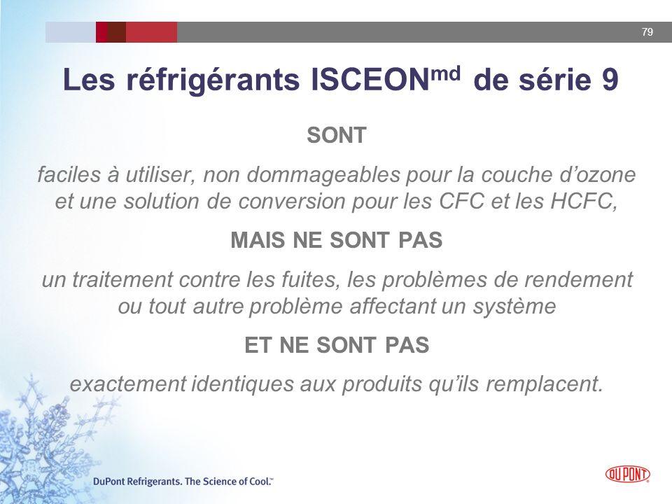 79 Les réfrigérants ISCEON md de série 9 SONT faciles à utiliser, non dommageables pour la couche dozone et une solution de conversion pour les CFC et