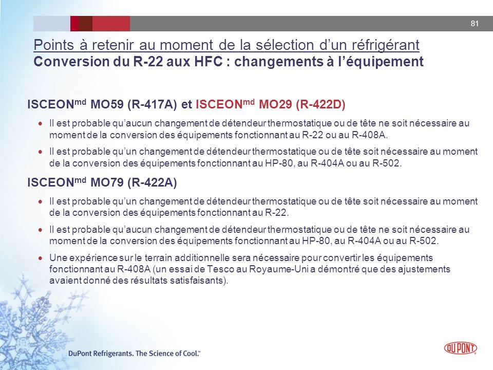 81 Points à retenir au moment de la sélection dun réfrigérant Conversion du R-22 aux HFC : changements à léquipement ISCEON md MO59 (R-417A) et ISCEON