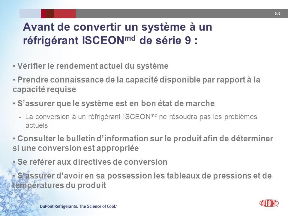 83 Avant de convertir un système à un réfrigérant ISCEON md de série 9 : Vérifier le rendement actuel du système Prendre connaissance de la capacité d