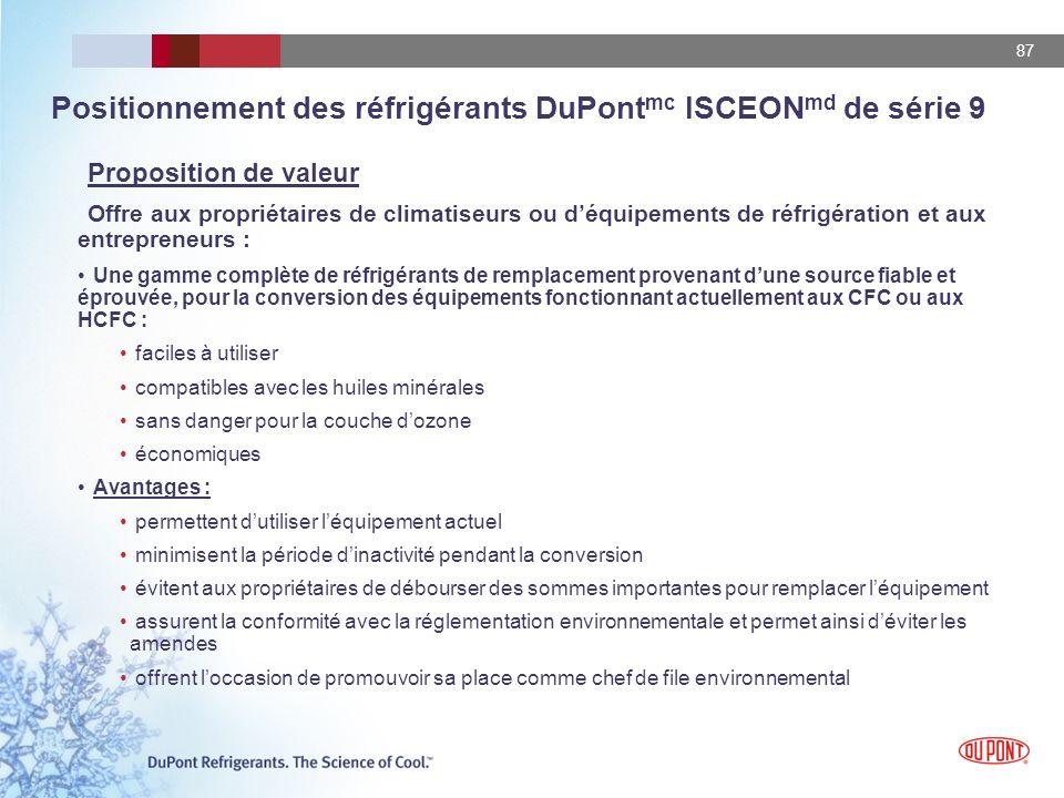 87 Positionnement des réfrigérants DuPont mc ISCEON md de série 9 Proposition de valeur Offre aux propriétaires de climatiseurs ou déquipements de réf