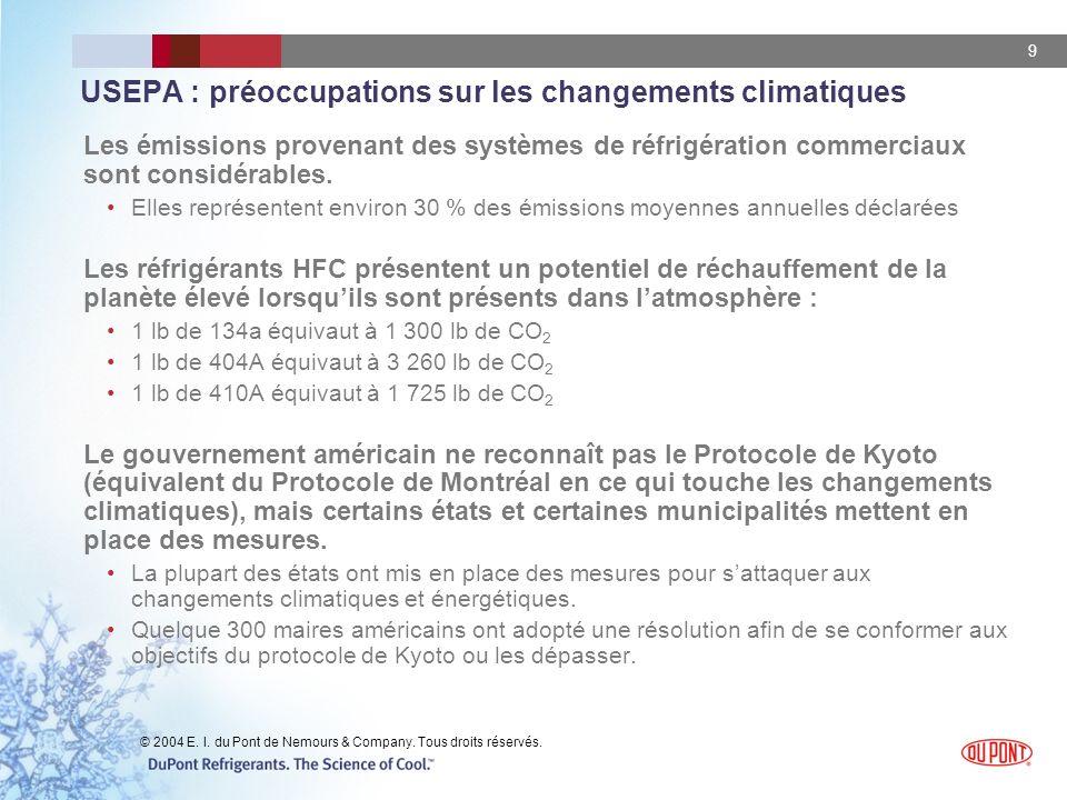 9 USEPA : préoccupations sur les changements climatiques Les émissions provenant des systèmes de réfrigération commerciaux sont considérables. Elles r