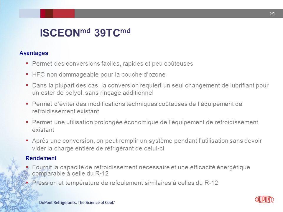 91 ISCEON md 39TC md Avantages Permet des conversions faciles, rapides et peu coûteuses HFC non dommageable pour la couche dozone Dans la plupart des