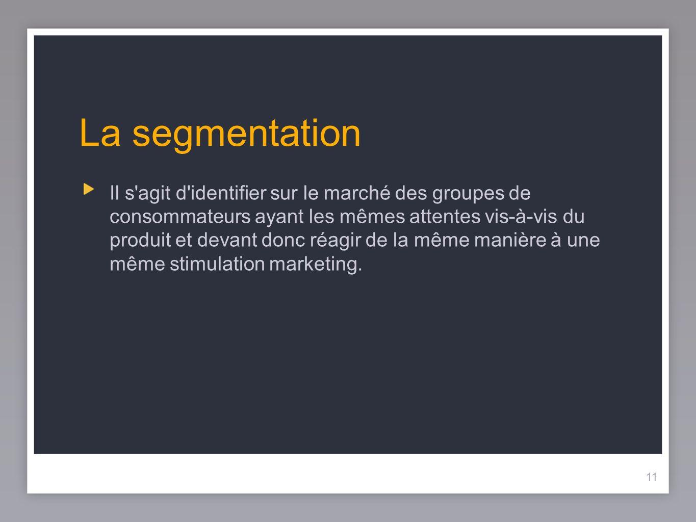 11 La segmentation Il s'agit d'identifier sur le marché des groupes de consommateurs ayant les mêmes attentes vis-à-vis du produit et devant donc réag