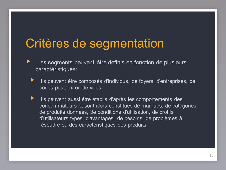 13 Critères de segmentation Les segments peuvent être définis en fonction de plusieurs caractéristiques: Ils peuvent être composés d'individus, de foy