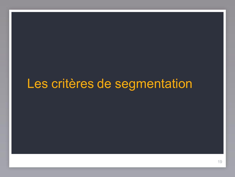 19 Les critères de segmentation 19