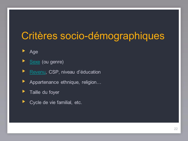22 Critères socio-démographiques Age SexeSexe (ou genre) RevenuRevenu, CSP, niveau déducation Appartenance ethnique, religion… Taille du foyer Cycle d