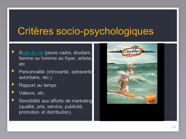 23 Critères socio-psychologiques Style de vie (jeune cadre, étudiant, femme ou homme au foyer, artiste, etctyle de vie Personnalité (introvertie, extr