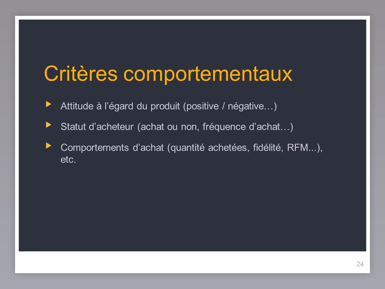 24 Critères comportementaux Attitude à légard du produit (positive / négative…) Statut dacheteur (achat ou non, fréquence dachat…) Comportements dacha