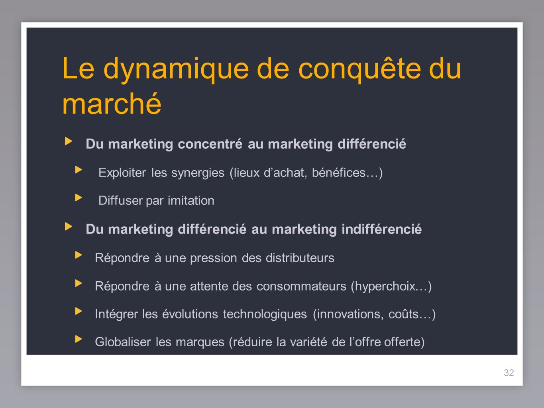 32 Le dynamique de conquête du marché Du marketing concentré au marketing différencié Exploiter les synergies (lieux dachat, bénéfices…) Diffuser par