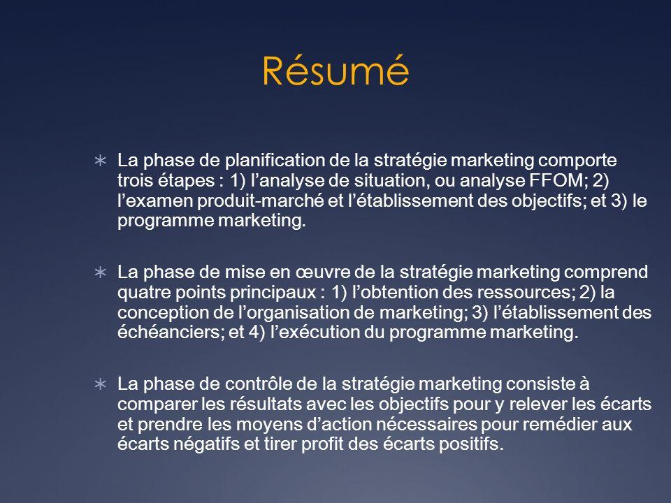 Résumé La phase de planification de la stratégie marketing comporte trois étapes : 1) lanalyse de situation, ou analyse FFOM; 2) lexamen produit-march