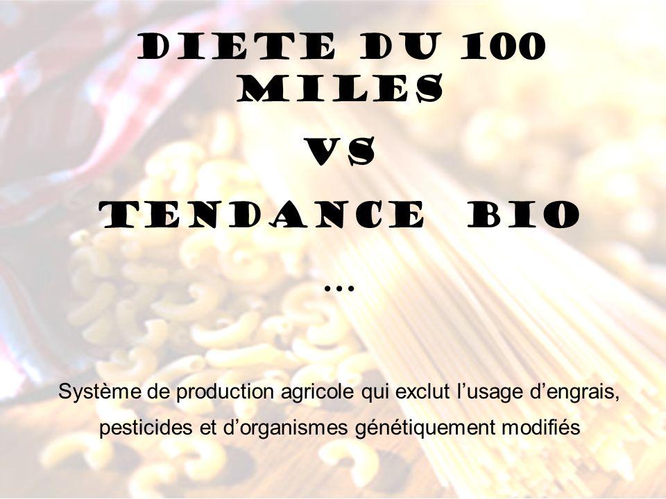 DIETE DU 100 MILES VS TENDANCE BIO … Système de production agricole qui exclut lusage dengrais, pesticides et dorganismes génétiquement modifiés