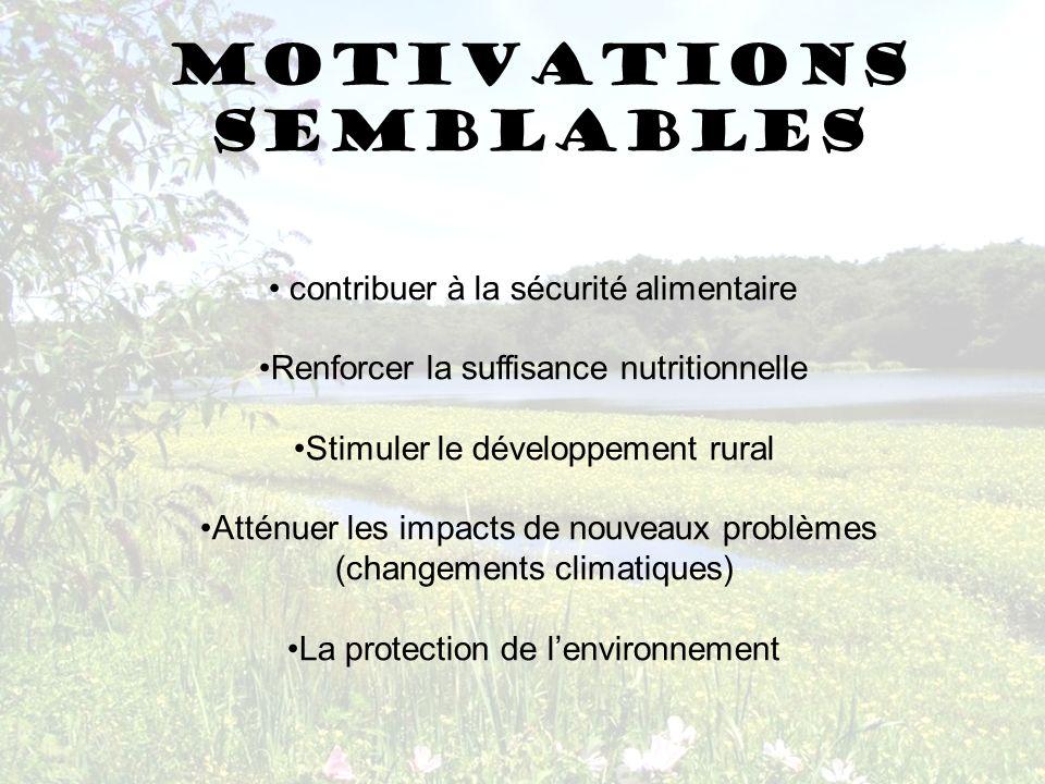 Motivations semblables contribuer à la sécurité alimentaire Renforcer la suffisance nutritionnelle Stimuler le développement rural Atténuer les impact