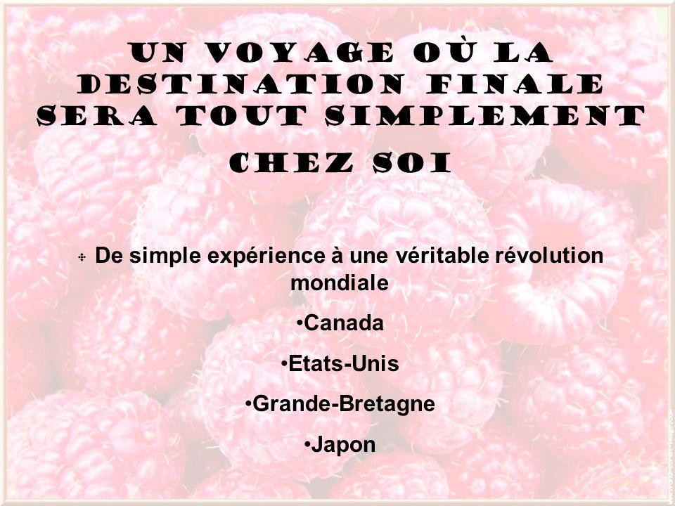 Un voyage où la destination finale sera tout simplement Chez soi De simple expérience à une véritable révolution mondiale Canada Etats-Unis Grande-Bre