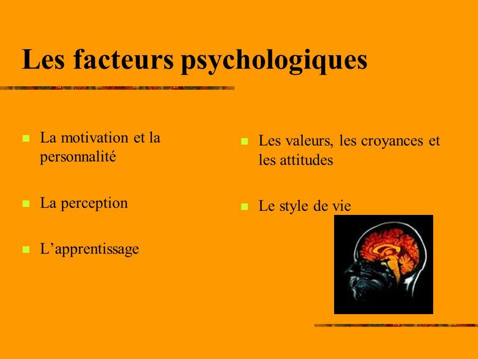 Les facteurs psychologiques La motivation et la personnalité La perception Lapprentissage Les valeurs, les croyances et les attitudes Le style de vie