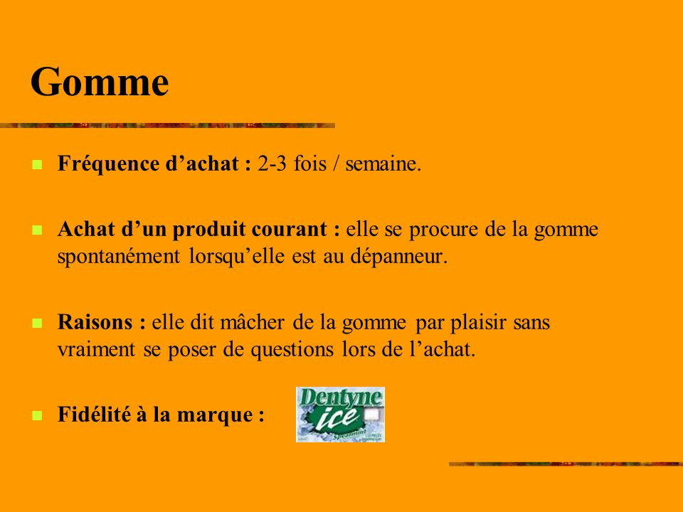 Gomme Fréquence dachat : 2-3 fois / semaine.