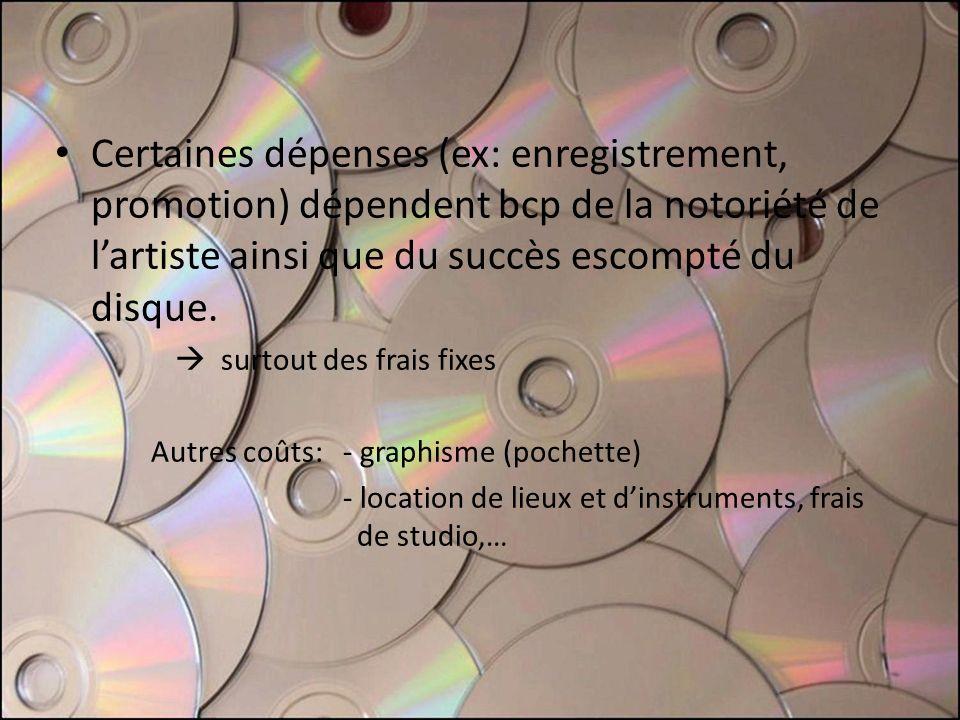 Certaines dépenses (ex: enregistrement, promotion) dépendent bcp de la notoriété de lartiste ainsi que du succès escompté du disque. surtout des frais