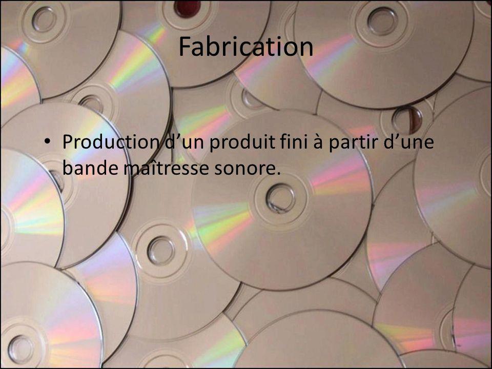 Fabrication Production dun produit fini à partir dune bande maîtresse sonore.