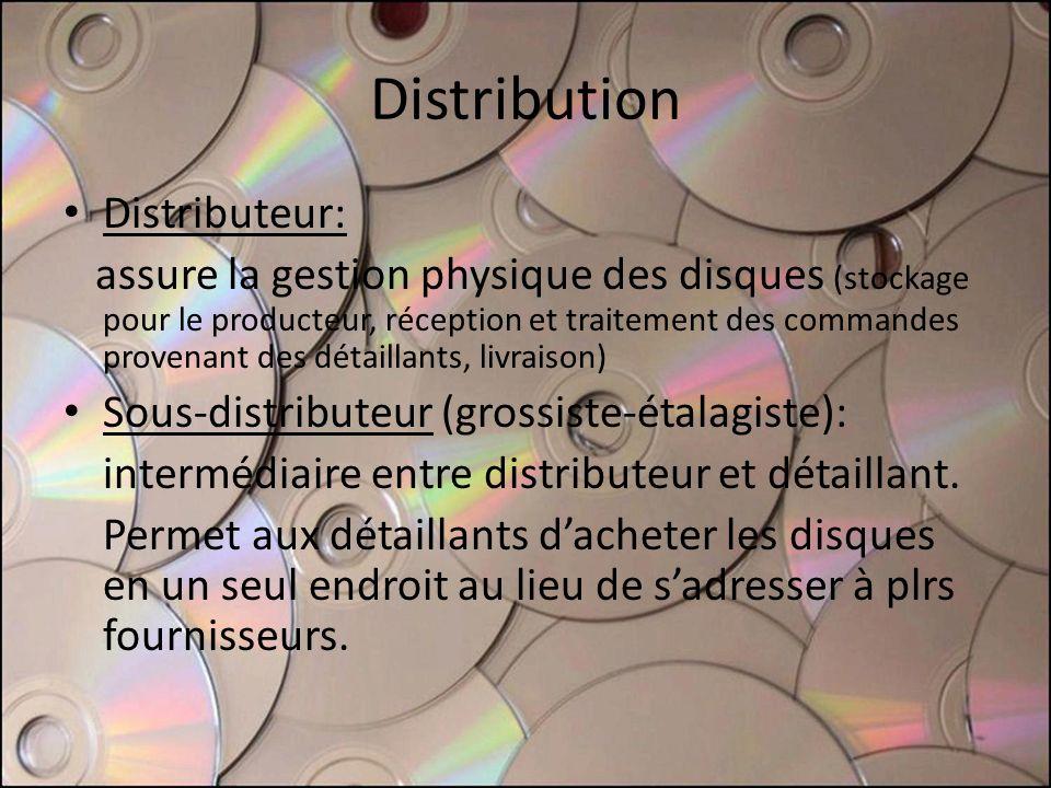 Distribution Distributeur: assure la gestion physique des disques (stockage pour le producteur, réception et traitement des commandes provenant des détaillants, livraison) Sous-distributeur (grossiste-étalagiste): intermédiaire entre distributeur et détaillant.