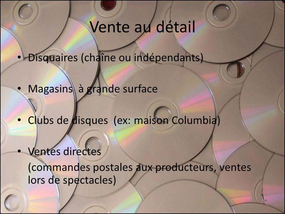 Vente au détail Disquaires (chaîne ou indépendants) Magasins à grande surface Clubs de disques (ex: maison Columbia) Ventes directes (commandes postal