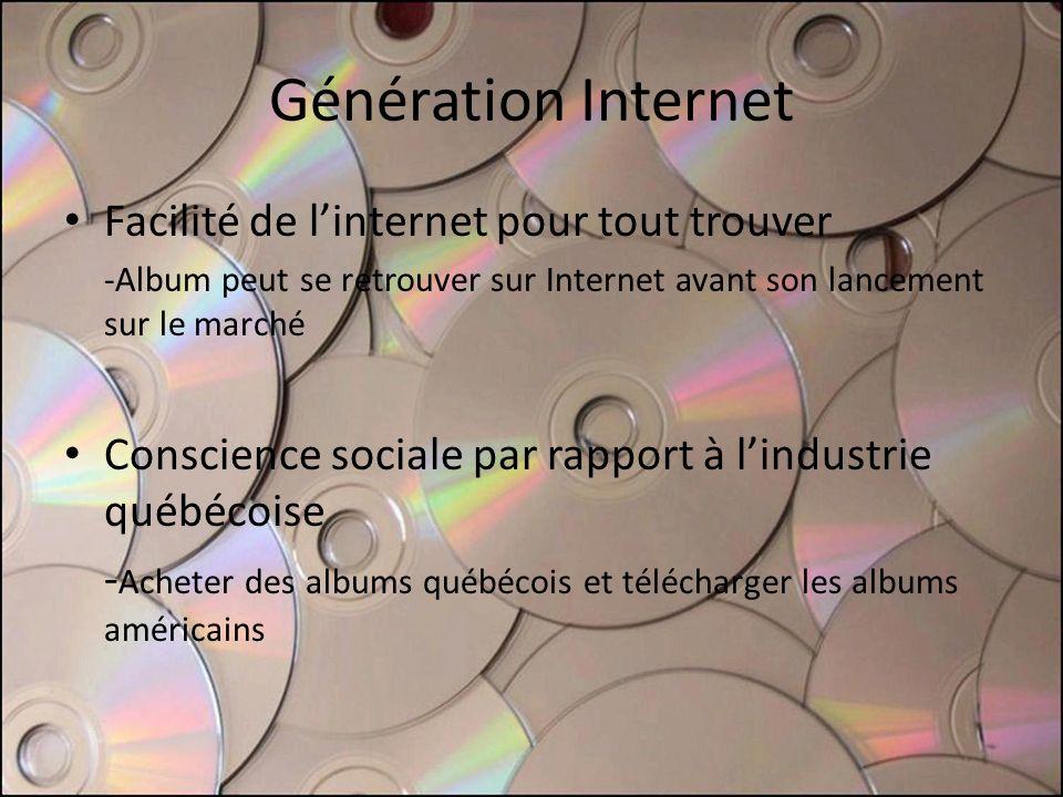 Génération Internet Facilité de linternet pour tout trouver -Album peut se retrouver sur Internet avant son lancement sur le marché Conscience sociale par rapport à lindustrie québécoise - Acheter des albums québécois et télécharger les albums américains