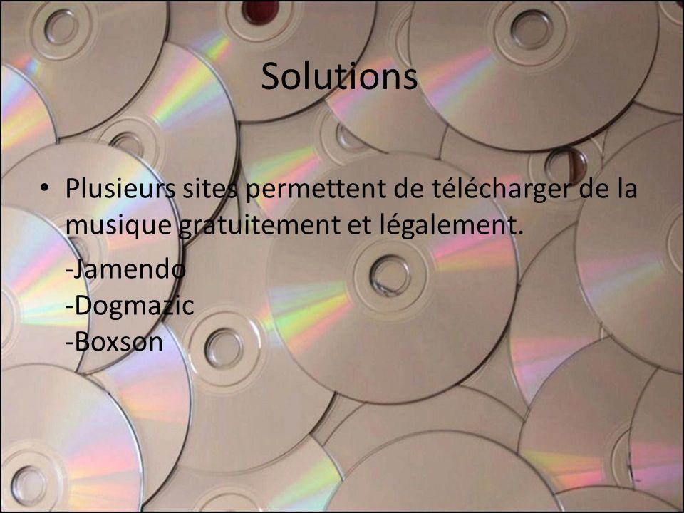 Solutions Plusieurs sites permettent de télécharger de la musique gratuitement et légalement. -Jamendo -Dogmazic -Boxson