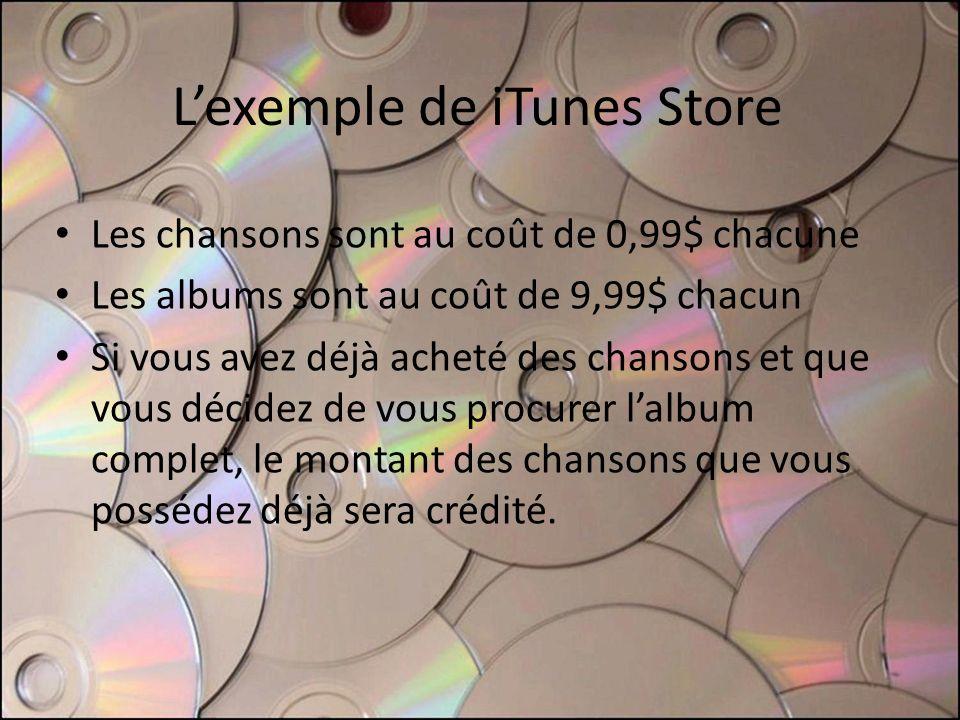 Lexemple de iTunes Store Les chansons sont au coût de 0,99$ chacune Les albums sont au coût de 9,99$ chacun Si vous avez déjà acheté des chansons et que vous décidez de vous procurer lalbum complet, le montant des chansons que vous possédez déjà sera crédité.