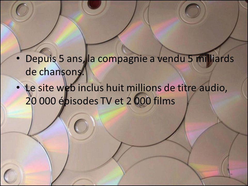 Depuis 5 ans, la compagnie a vendu 5 milliards de chansons.