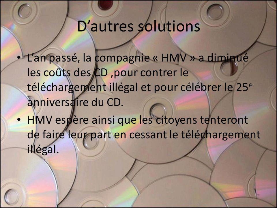 Dautres solutions Lan passé, la compagnie « HMV » a diminué les coûts des CD,pour contrer le téléchargement illégal et pour célébrer le 25 e anniversa