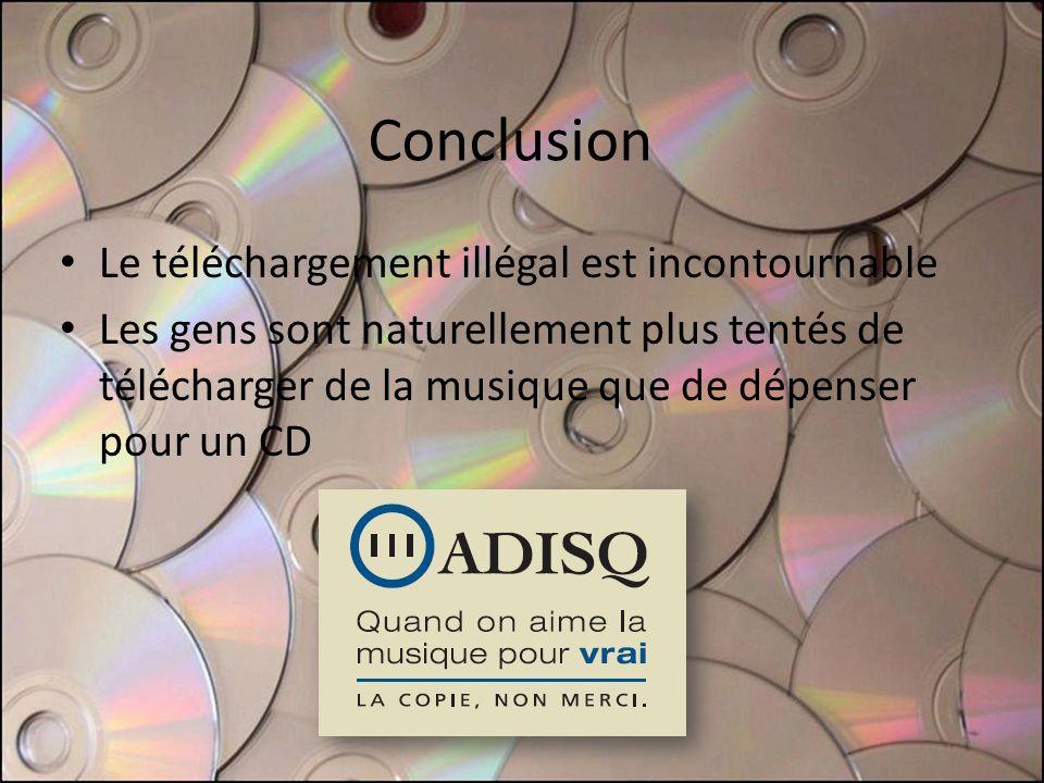 Conclusion Le téléchargement illégal est incontournable Les gens sont naturellement plus tentés de télécharger de la musique que de dépenser pour un CD