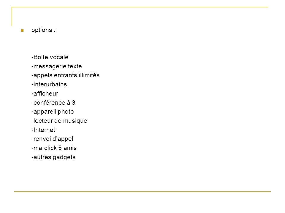options : -Boite vocale -messagerie texte -appels entrants illimités -interurbains -afficheur -conférence à 3 -appareil photo -lecteur de musique -Internet -renvoi dappel -ma click 5 amis -autres gadgets