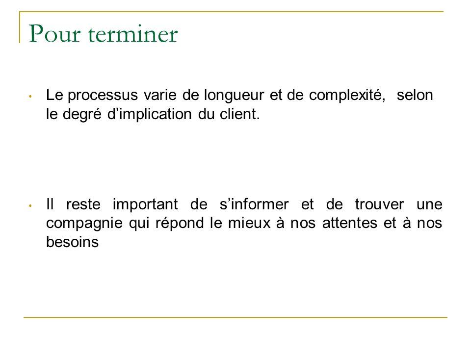 Pour terminer Le processus varie de longueur et de complexité, selon le degré dimplication du client.
