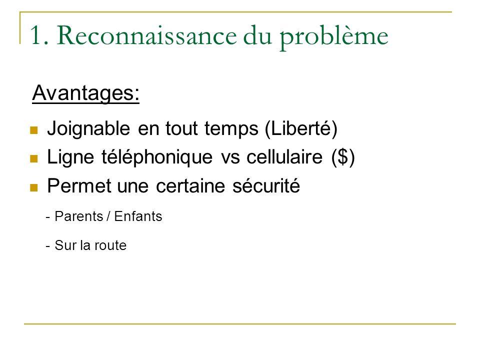 1. Reconnaissance du problème Joignable en tout temps (Liberté) Ligne téléphonique vs cellulaire ($) Permet une certaine sécurité - Parents / Enfants