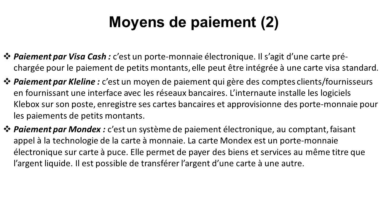 Paiement par Visa Cash : cest un porte-monnaie électronique. Il sagit dune carte pré- chargée pour le paiement de petits montants, elle peut être inté