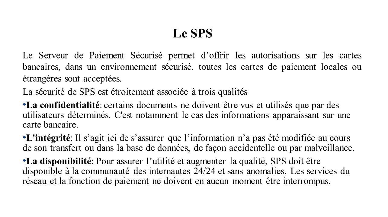 Le SPS Le Serveur de Paiement Sécurisé permet doffrir les autorisations sur les cartes bancaires, dans un environnement sécurisé. toutes les cartes de