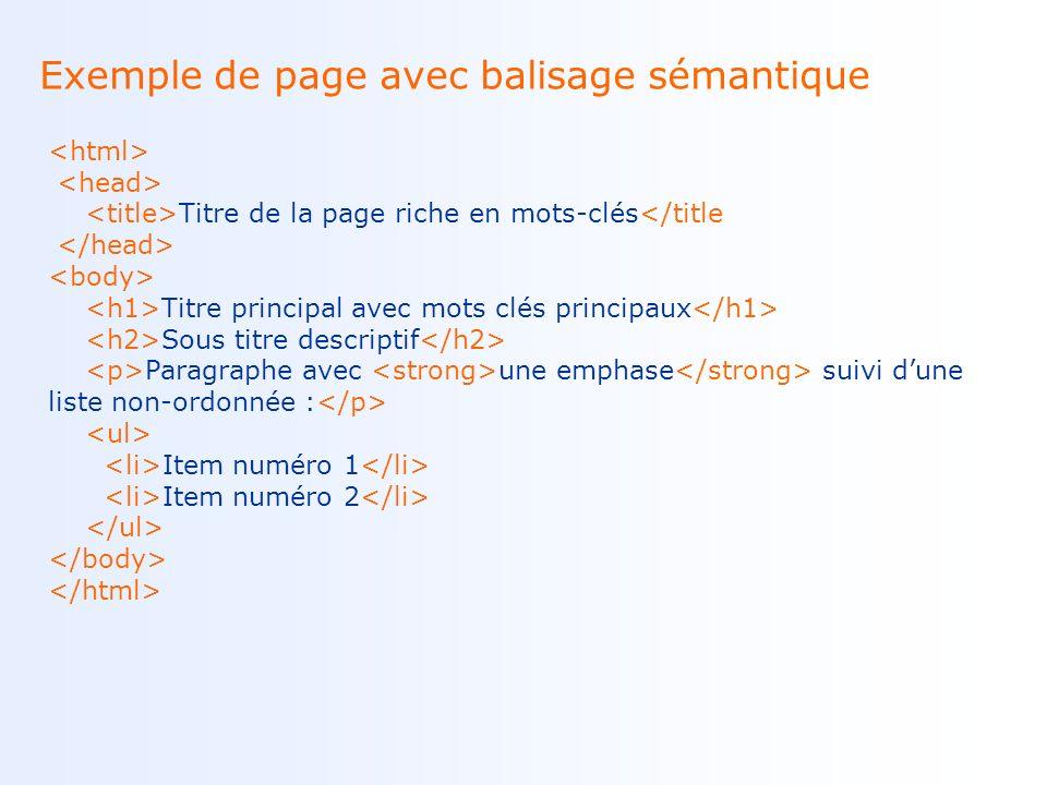 Exemple de page avec balisage sémantique Titre de la page riche en mots-clés</title Titre principal avec mots clés principaux Sous titre descriptif Paragraphe avec une emphase suivi dune liste non-ordonnée : Item numéro 1 Item numéro 2