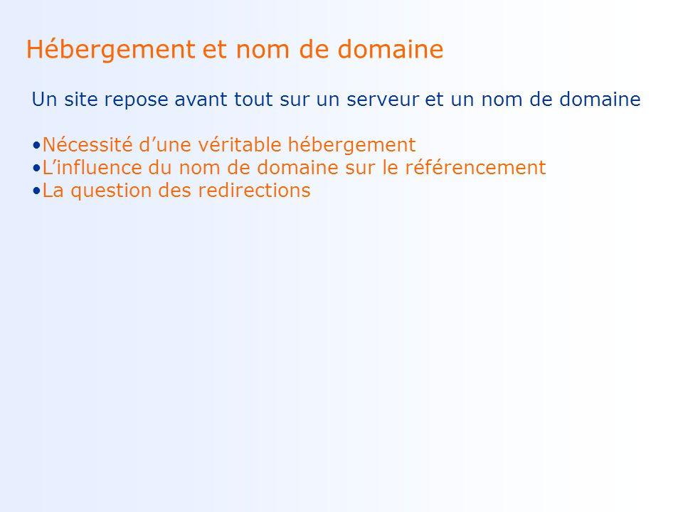 Sites dynamiques Ce sont surtout les URLs dynamiques qui peuvent poser problème Lindexabilité des sites dynamiques La question des identifiants de sessions Des solutions :URL-rewriting, sitemaps Exemple dURL dynamique : Ex : www.site.fr/catalogue.php?categorie=abc&page=2 Exemple dURL comprenant un identifiant de session : Ex : www.site.fr/index.php?sid=123456789 Exemple dURL reécrite : Ex : www.site.fr/catalogue.php/abc/2