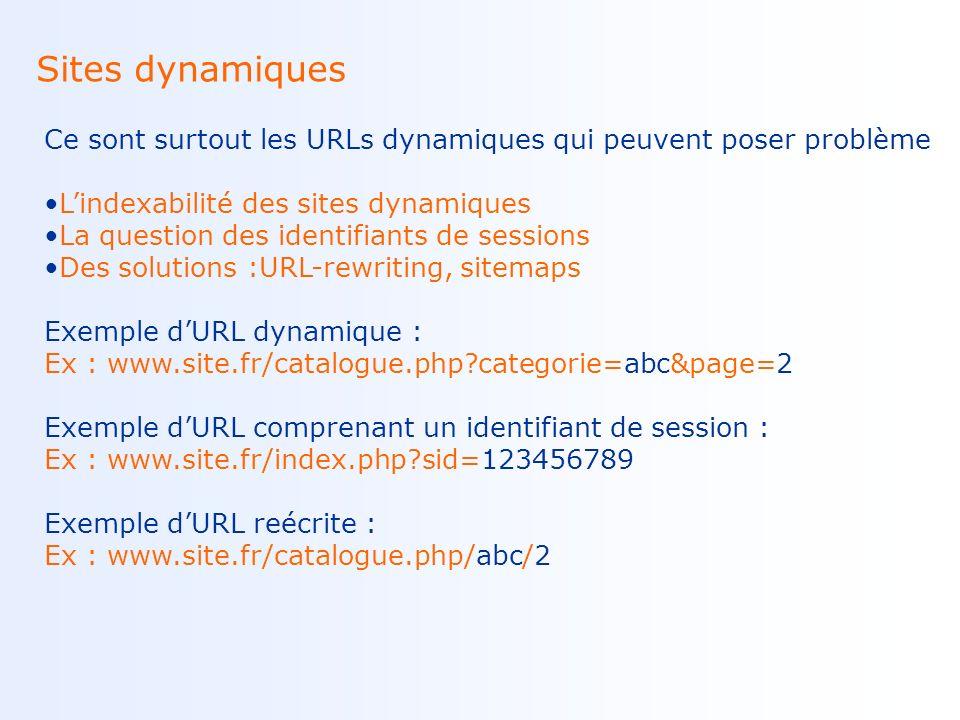 Optimisation des contenus graphiques Le web nest pas que textuel, les images peuvent servir le référencement Utilisation de lattribut alt Exemple dattribut alt :
