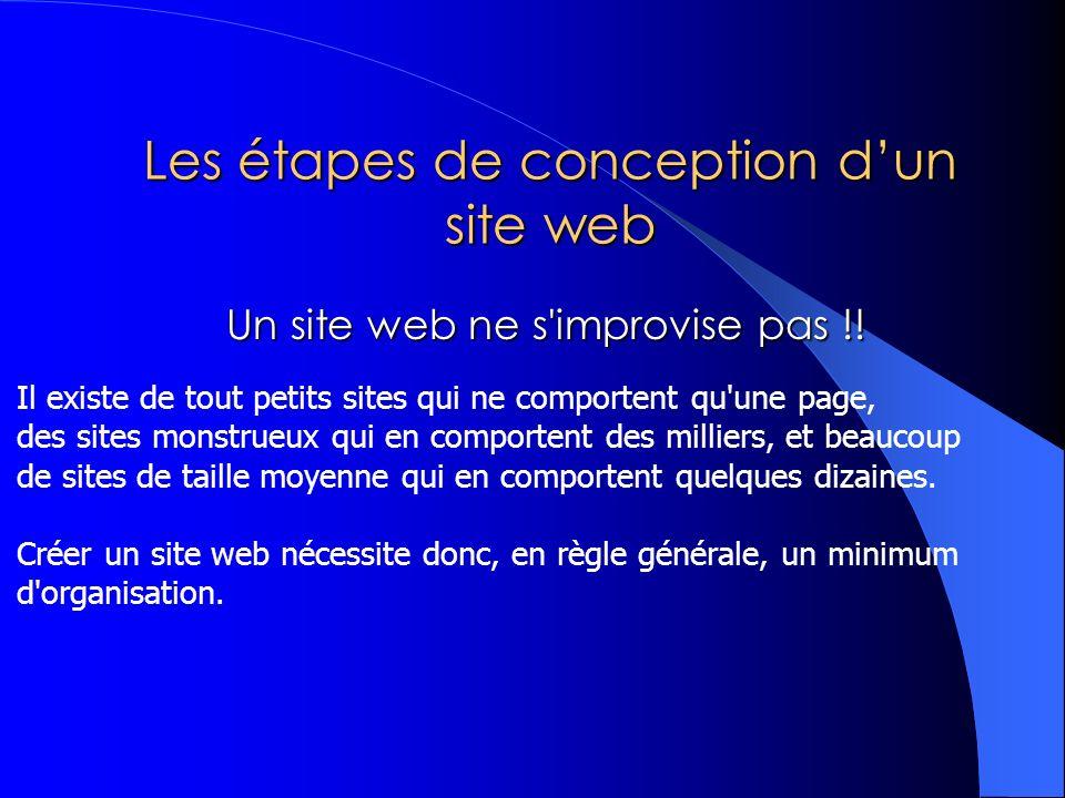 Les étapes de conception dun site web Un site web ne s improvise pas !.