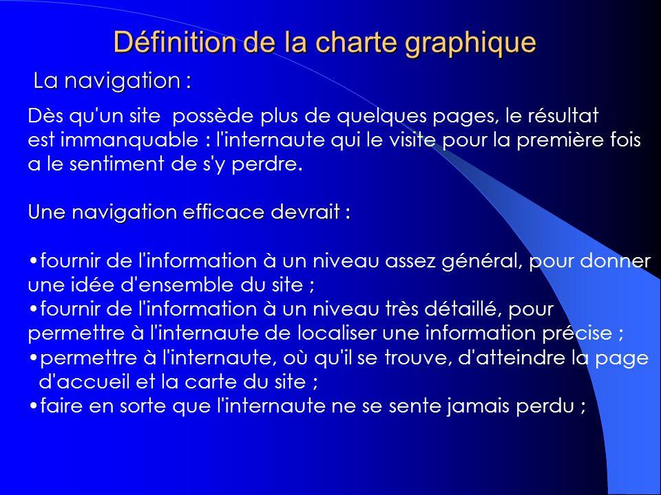 Définition de la charte graphique Dès qu un site possède plus de quelques pages, le résultat est immanquable : l internaute qui le visite pour la première fois a le sentiment de s y perdre.