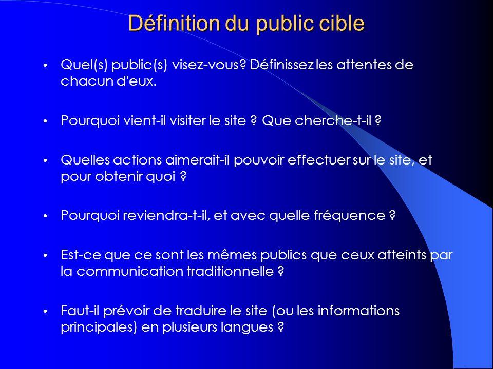 Définition du public cible Quel(s) public(s) visez-vous.